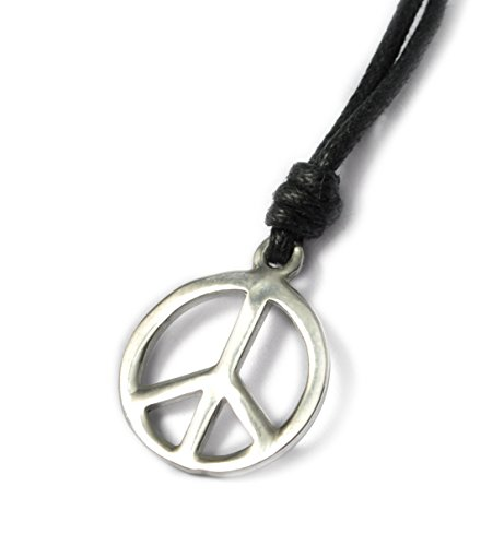 Vietsbay Small Peace sign Silver Pewter Charm Necklace Pendant Jewelry ()