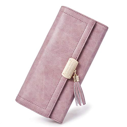 Women Wallet Soft Oil Wax Leather Designer Trifold Multi Card Organizer Lady Clutch taro Pink
