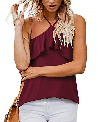 (SHANUOINT Halter Top, Women's Summer Sleeveless Lightweight Tunic Ladies Casual Off Shoulder Knit Pleated Front Chiffon Blouses Girls Slim Fit Spaghetti Strap Ruffles Backless Camisole Tank Wine Red S)