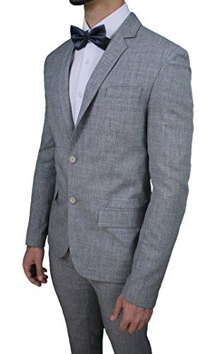 8d0a07ef25 Abito completo uomo Galles grigio gessato sartoriale in cotone smoking  elegante