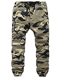 Capturelove Boys Relaxed Fit Pull On Drawstring Chino Camo Cargo Pants