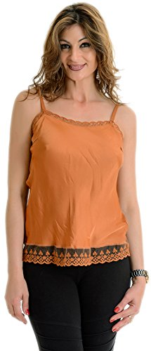 STEKOST - Camiseta de manga larga - empire - Cuello redondo - para mujer Caramelo