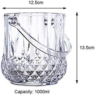 Cubiteras y Pinzas Elegante Cubo de Hielo de Cristal con Asas, Cubo de Enfriador de Vino, Cubo de Vidrio, Seguro y Perfecto for la Barra de su hogar Contenedor de Vino Almacenamiento de Cerveza