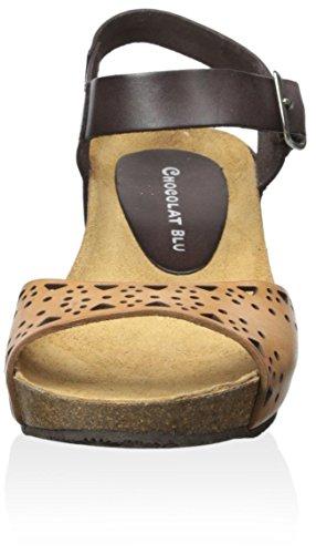 Blu Sandal Camel Women's Chocolat Leather Malaga dRwStH