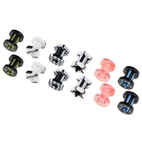 (6 Pairs Ear Flesh Tunnels Threaded Screw Fit Expander Stretcher Gauge Plugs | Size - 6mm)