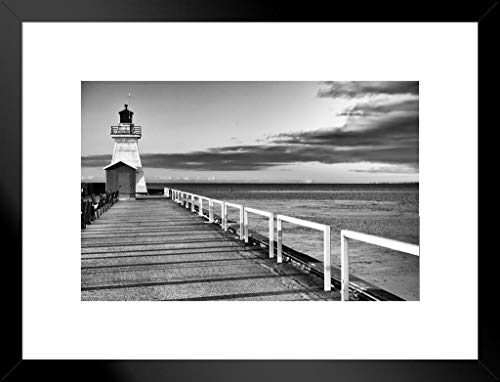 - Poster Foundry Old Fashioned Lighthouse End of Pier Ocean Water Clouds Black and White Photograph Matted Framed Wall Art Print 26x20 inch