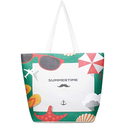 by you Women Summer Large Beach Tote Bag Travel Tote Bag Zipper Closure Shoulder Bag (Summer Time - Green)