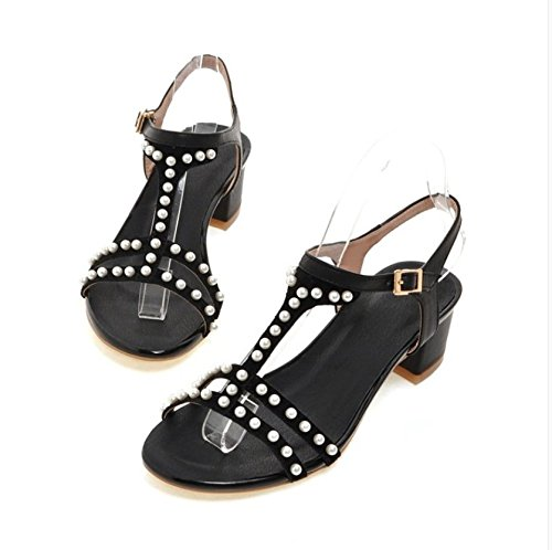 pelle spessore nero in sandali è Pearl scarpe con Donne tallone 1B7nx