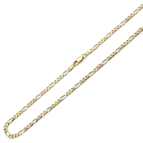 - 14K Solid Gold 2.5mm Tricolor Figaro Chain Necklace -Lobster Claw - Multiple lengths available (18)