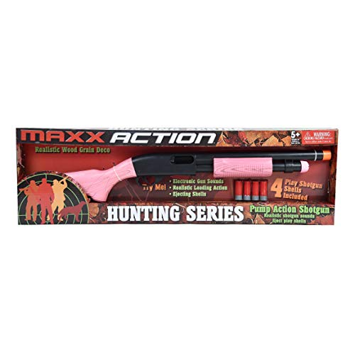 Maxx Action Hunting Series Toy Pump Action Shotgun with Realistic Sounds, Sliding Pump & Ejecting Toy Shells in Pink For Kids - Meets All US Toy Safety Standards for Toy -
