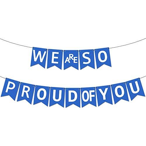 We are so Proud of You Blue Graduation Banner - Assembled - Graduation Party Supplies 2019 Blue, Graduation Decorations Congratulations Grad Party Decorations, NO DIY, Felt Banner for High School -