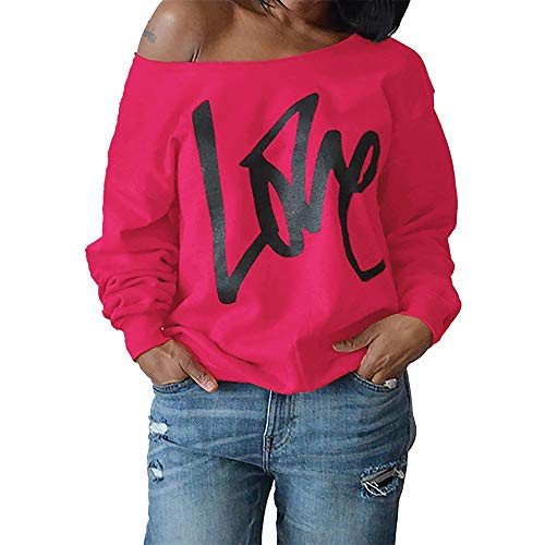 (KFSO Women Love Costume Off Shoulder Tops Casual Pullover Slouchy Sweatshirt (Hot Pink, XL))