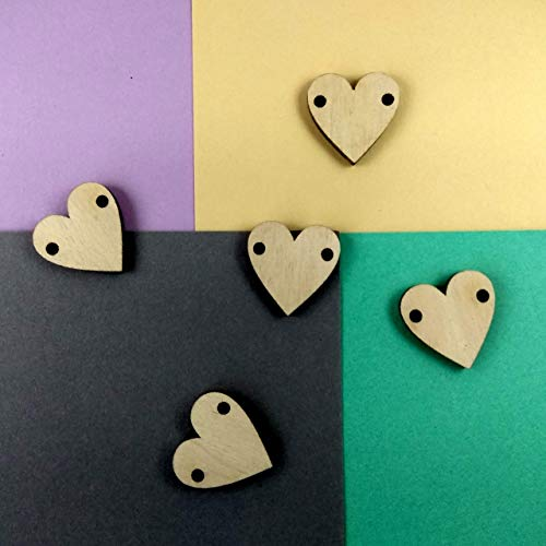 Wooden Hearts Tag Buttons, Bunch Craft Embellishment Ornaments 3 cm 1 inch DIY from LenasMiniLand