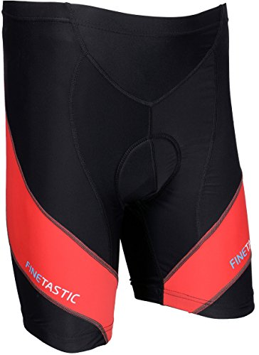 Finetastic Men's Cycling Shorts With 3D Gel Coolmax Pads (M, Black/Red)