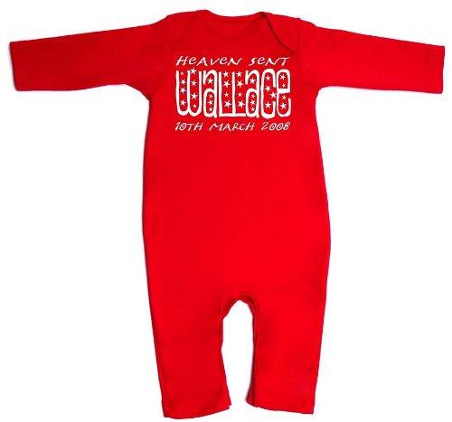 Cielo Envía bebé Pelele mono personalizado con nombre y fecha de nacimiento en rojo rosso 6-12 meses: Amazon.es: Ropa y accesorios
