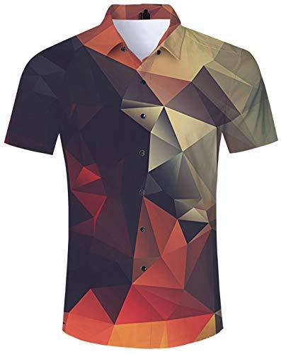 Youth Adult Aloha Hawaiian Print Shirt 80s 3D Pattern Hawaiian Brown Geometric Polo Shirts Apparel Solid Formal Dress for Bithday Party Casual Daliy School Holiday ()