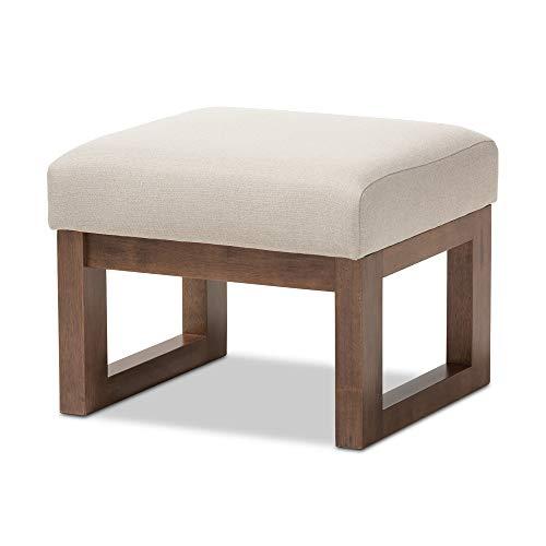 Baxton Studio Yashiya Mid Century Retro Modern Fabric Upholstered Ottoman Stool, Light Beige (Upholstered Stool Bench)