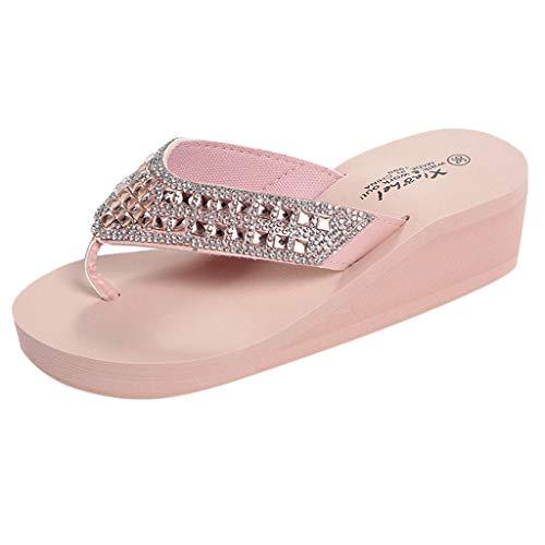- Duseedik Summer Slippers for Women's, Rhinestone Wedges Flip Flops Ladies Fashion Clip Toe Beach Shoe