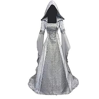 Cinnamou Vestido Mujeres de Fiesta Suelto Disfraz Mujer Medieval Señoras de Tallas Grandes Retro Bandage Vestido Largos de Manga Larga Renacimiento