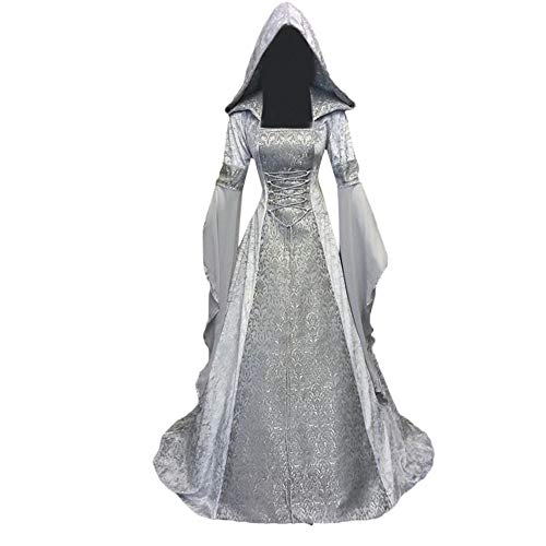 Halloween Women Medieval Dress Renaissance Lace Up Vintage Style Gothic Dress Floor Length Women Hooded Cosplay Dresses Retro (White, -