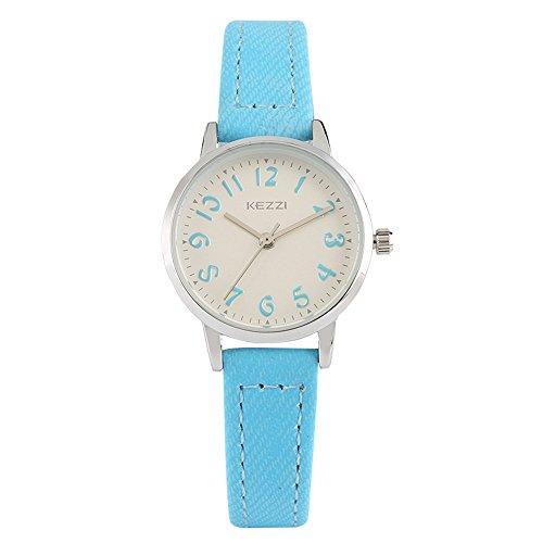 tch, Women Slim Design Wristwatch with Waterproof Leatherette Strap, Sweet Teens Watches (Blue) ()