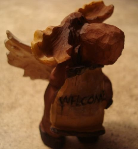 Welcome Rustic Lodge Faux Wood Carved Moose Angel Log Cabin Figurine Home Decor