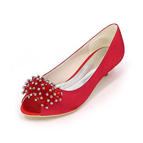 Large Custom Shoes Multi Color YC Peep Heels Wedding Wedding Size Red Women Toe L High gwqPZq0