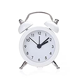 Yeefant Twin Bell Silent Alloy Bed Compact Quartz Clock Cute Portable Stainless Metal Student Classic Clock Decor for Living Room Bedroom,White