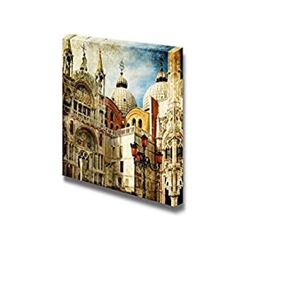 Canvas Prints Wall Art - Beautiful Scenery/Landscape Venice San Marco Square Painting Style | Modern Wall Decor/Home Art Stretched Gallery Canvas Wraps Giclee Print & Ready to Hang - 24