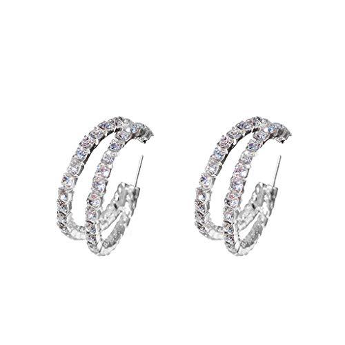 Moonite Women Round Diamond Earrings Rainbow Glitter Earrings Luxury Diamond Jewelry