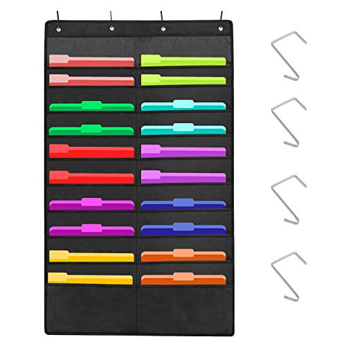 Sinzip Heavy Duty 20 Pocket Door Hanging File Organizer, Black Wall Storage Pocket Charts with 4 Hangers, Great for Classroom, School, Home or Office Use (20 Pocket)