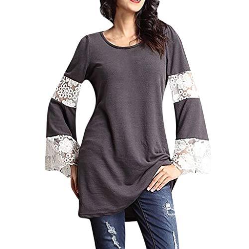 Women Plus Size Lace Tunic Tops Openwork Shirt Flower Stitching Blouse ()