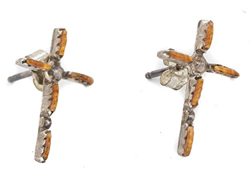 - Handmade Certified Authentic Cross Zuni .925 Sterling Silver Natural Spiny Oyster Native American Stud Earrings