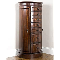 "Hives and Honey 6006-730 Hives & Honey Blair Jewelry Armoire, 39.5"" x 19"" x 13.75"", Walnut"