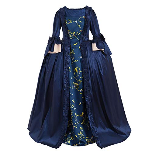 CosplayDiy Women's Rococo Ball Gown Gothic Victorian Dress Costume (XL, Blue Flower) ()