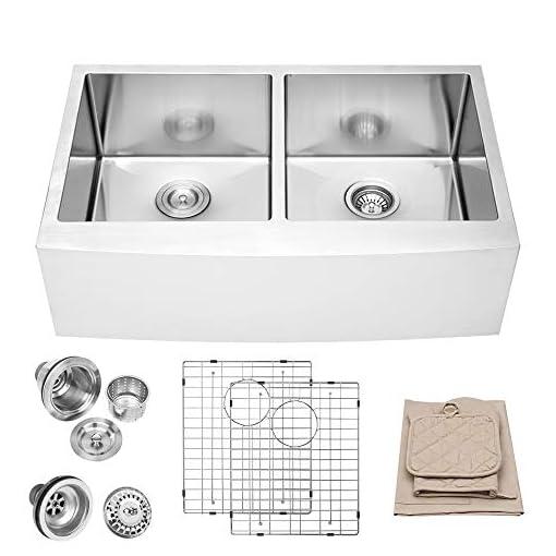 Farmhouse Kitchen 33 Farmhouse Kitchen Sink – Lordear 33 Inch Stainless Steel 16 Gauge Apron Front Double Bowl 50/50 Farm Kitchen Sink farmhouse kitchen sinks