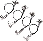 Fishing Wire Leader Hook Rigs- 24pcs Stainless Steel Wire Line Leaders Rigging Trace with Crane Swivels Barb F