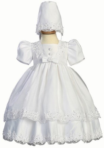 White Satin Christening Baptism Dress with Organza Overlay and Matching Bonnet - S (3-6 Month)