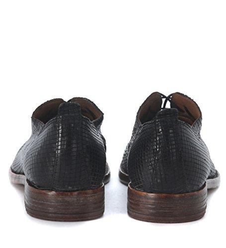 Zapato con cordones Moma en piel láser negra Negro