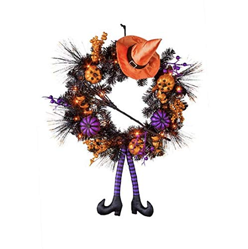 Lighted Witch Halloween Wreath Halloween Decoration - Measures 22