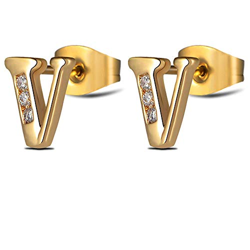 Alphabet Earrings Sets Gold Initial Letter Studs for Women Girls Tiny Stainless Steel Hypoallergenic Sensitive Ears - 316l Jewelry Steel