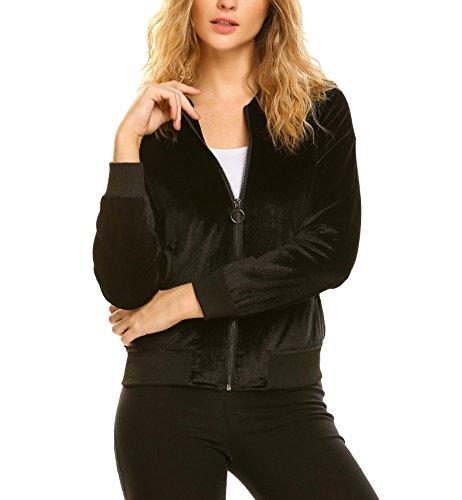 Zeagoo Women Classic Velvet Zip Up Pocket Bomber Jacket Coat Black S