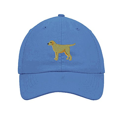 Speedy Pros Yellow Labrador Embroidery Twill Cotton 6 Panel Low Profile Hat Light Blue