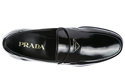 Prada Heren Lederen Instappers Mocassins Zwart