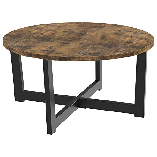 IRONCK Round Coffee Table, Industrial Table for Living Room with X Base Metal Frame Stable Easy Assebly, Sofa Table, Office Table, Entertainment Center for Gaming