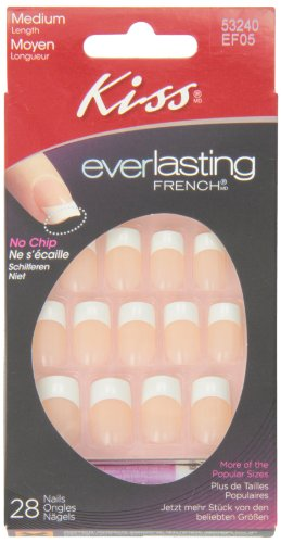 (Kiss Kiss Everlasting French Nail Kit Medium Infinite Nails, 28 Ea, 28)