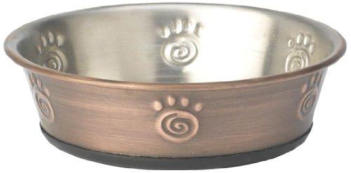 PetRageous 1-Cup Bermuda Paws Non Skid Stainless Steel Pet Bowl, Bronze, My Pet Supplies