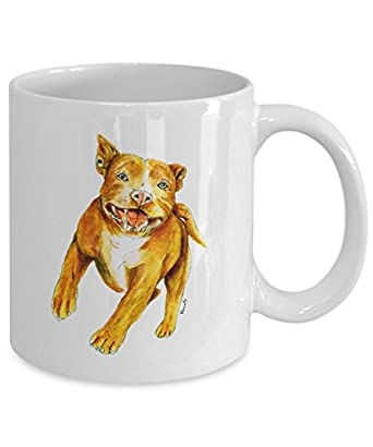 Running Tan Pit Bull Mug - Style No. 1 - Cool Ceramic Pitbull Coffee Cup (11oz)