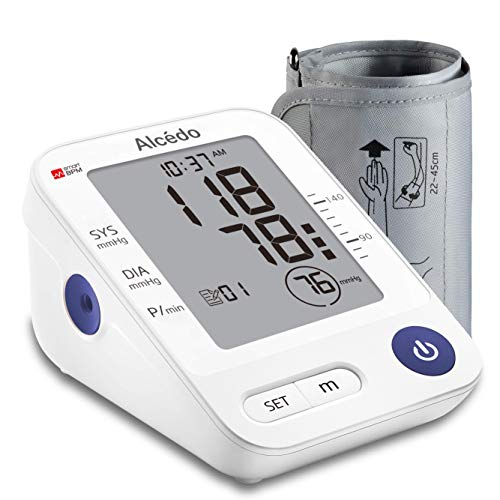 Blood Pressure Monitor Upper Arm by Alcedo | Automatic Digital BP Machine with Wide-Range Cuff for Home Use | Large Screen, 74 Reading Memory