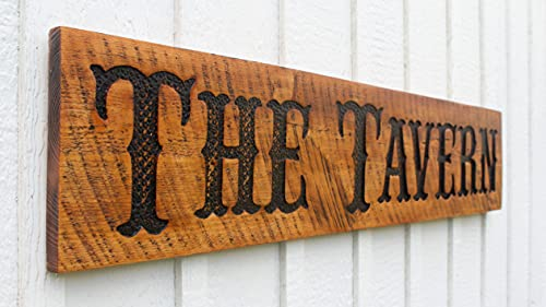 """The Tavern Sign - Carved in a 48""""x10"""" Solid Wood Board Rustic Western Style"""